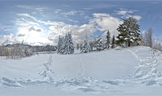 Beautiful white panorama on sunny day