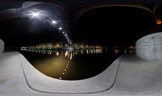 Mītavas bridge at night