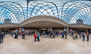 Inside Louvre Pyramid, Paris, 2014.