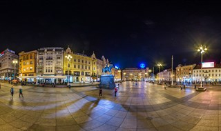 Jelacic square at night, Zagreb, 2016.