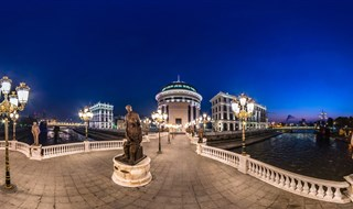 Art Bridge at Night, Skopje, Macedonia, 2016.