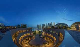 Night View at Esplanade Singapore roof top.