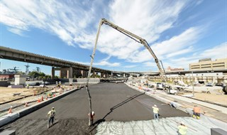 Canalside Buffalo - 12 hours of non-stop concrete pouring to build the floor of the canals and the f