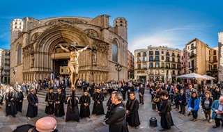 Good Friday Procession at Placa de Santa Maria, Barcelona, 2015.