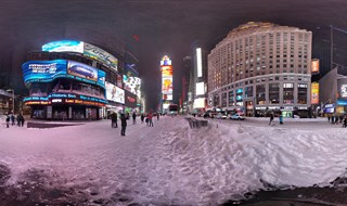 Times Square during blizzard