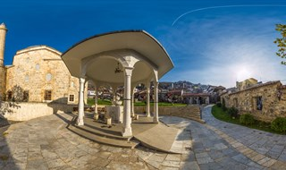 Shadirvan and courtyard of Sinan Pasha Mosque, Prizren, Kosovo, 2016.