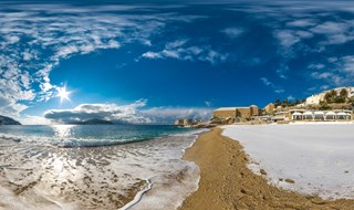 Panorama from Banje beach under snow, Dubrovnik, Croatia, 2017.