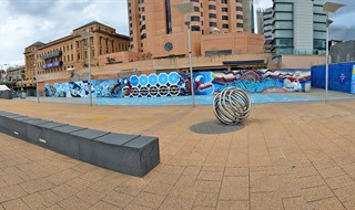 Backside of festival center Adelaide 360 by panoramic SA