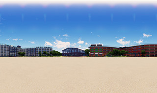 Anime School Equirectangular Panoramic Render - Noon