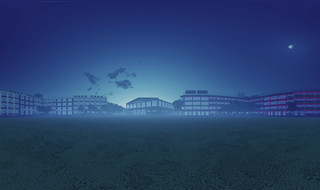 Anime School Equirectangular Panoramic Render - Early Morning